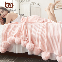 BeddingOutlet Solid Color With Ball Blanket For Beds Soft 100 Cotton Girl Bedding Warm And Cute