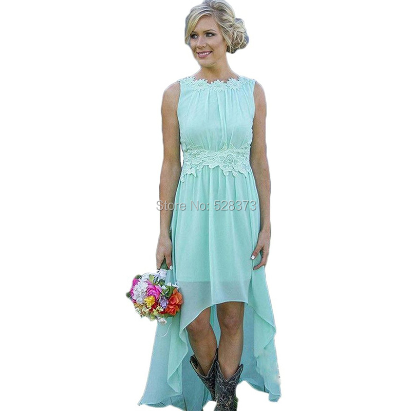 YNQNFS BD51 Elegant Chiffon Sleeveless Short Front Long Back High Low   Bridesmaid     Dresses   Party   Dress
