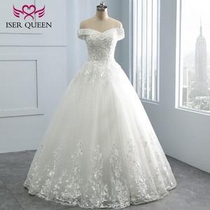 Image 1 - Bordado vintage uma linha de renda vestido de casamento boné manga v pescoço lantejoulas pérolas frisado plus size mariage vestido de casamento wx0109