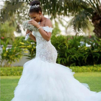 Tassel Train African Mermaid Wedding Dresses 2019 Cap Sleeve lace up Back Embroidery Trumpet Lace Wedding Dress
