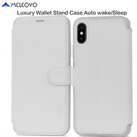 MELEOVO Leather Wallet Case For IPhone X Stand Phone Cases Bag Smart Cover Luxury Sleeve Pouch
