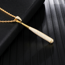 Iced Out Bling Full Rhinestone Copper Rope Chain Baseball Bat Pendant & Necklace For Men Hip Hop Jewelry Dropshipping