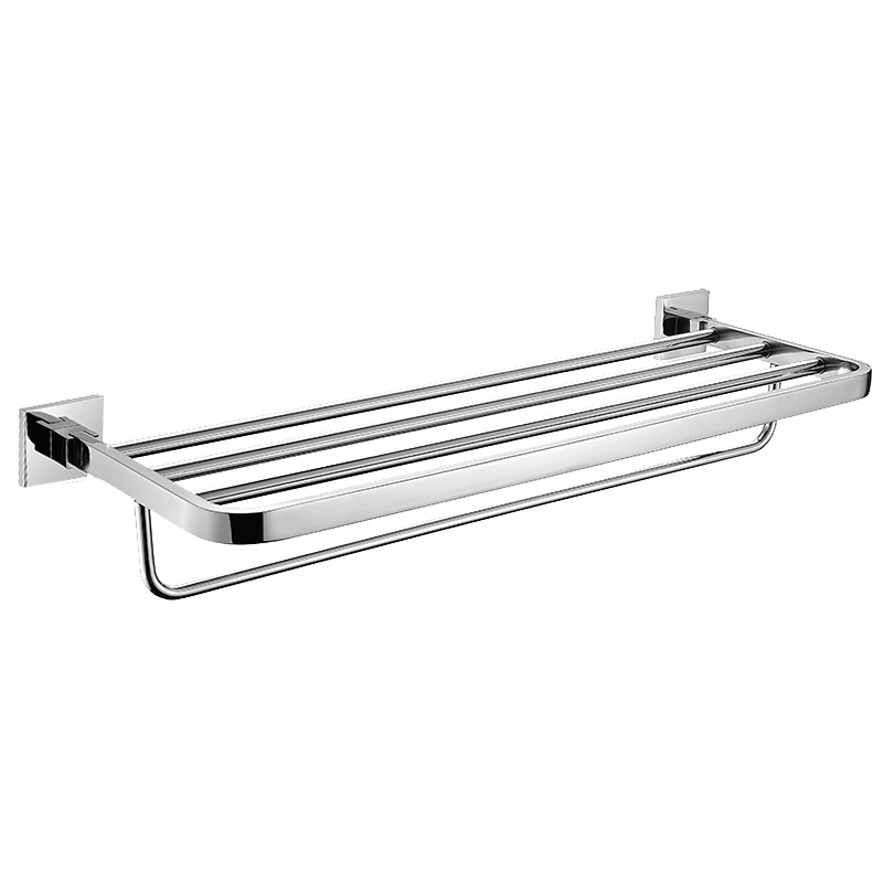 304 stainless steel chrome finish towel rack fixed bathroom hardware towel rail with hanger 2 layer towel bar set wall mount AQ auswind antique 304 stainless steel square base black towel ring wall mount towel bar vintage bathroom hardware set