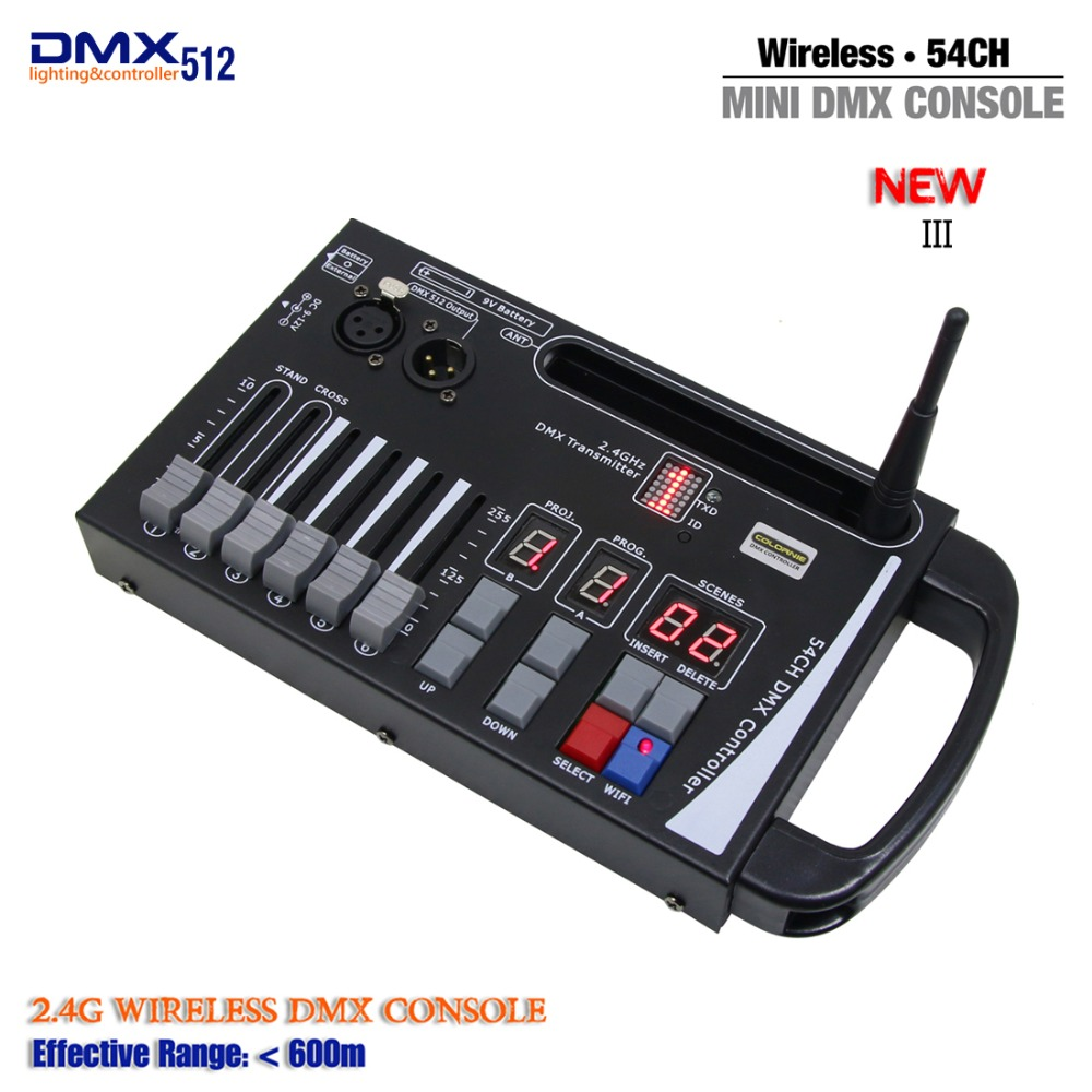цена DHL Free shipping New Arrival Portable NEW System MINI Wireless DMX Controller for Battery stage lighting or Move RGB lamp