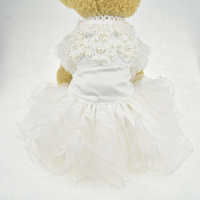 White Lace Pearl Dog Puppy Luxury Dress Tutu Skirt Small Pet Dog Cat Princess Wedding Dress