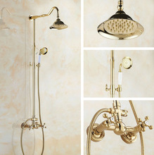 Bathroom Shower Faucet Bath Faucet Mixer Tap With Hand Shower Head Gold Color Brass Shower Faucet Set Wall Mounted zgf734 golden rainfall shower faucets set brass wall mounted shower with hand shower mixer for bathroom
