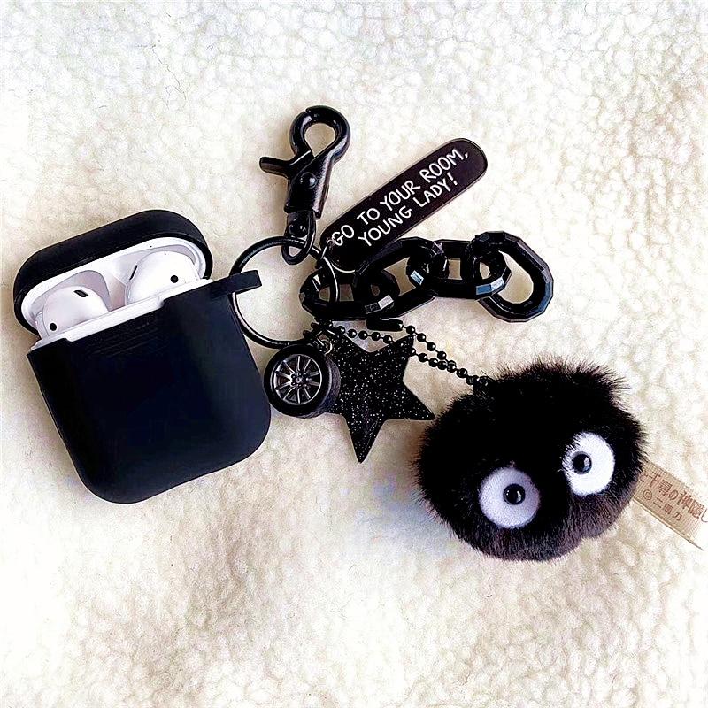 Totoro preto briquetes silicone caso do fone de ouvido para apple airpods acessórios caso chaveiro capa protetora bluetooth casos