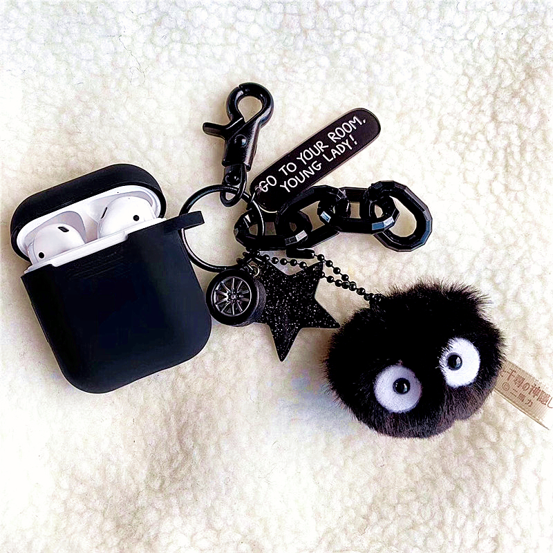 Black Totoro Briquettes Silicone Earphone Case for Apple airpods key ring Case Accessories Protective Cover Bluetooth casesBlack Totoro Briquettes Silicone Earphone Case for Apple airpods key ring Case Accessories Protective Cover Bluetooth cases