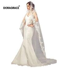 Doragrace Veu de noiva longo 1T 3 M Long Lace Wedding Veils Head Veil Accessories Bridal