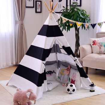 YARD Black/White Indian Tent for Kids Children Playhouse Baby Tent Toys Balls Tent Indoor Folding Tent Bed for Kids Room Gifts