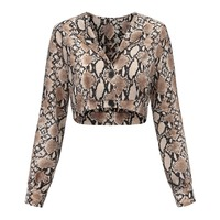 SISHION Snake Print Crop Top Top Women haut femme Plus Size 81810 snake skin top shirt women crop tops femme
