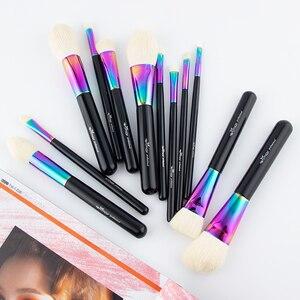 Image 4 - Anmor Hoge Kwaliteit Regenboog Make Up Kwasten Set Luxe Geitenhaar 12 Stuks Make Up Borstel Professionele Cosmetische Gereedschap Maquillaje