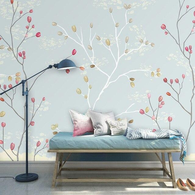 Behang lichtblauw kleur en rood bloemen ontwerp muur mural op de ...