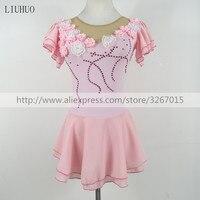 Фигурное катание платье женские девочки Катание на коньках платьеконкурентная одежда для выступлений Розовые Красивые цветы Ангел милый к
