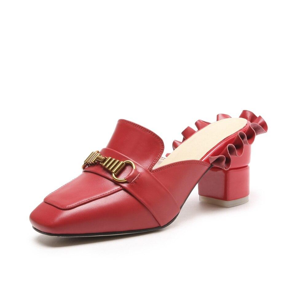 Automne rouge Talons Été Mode De Noir Épais Décoré blanc Magnifiquement Chaussures Noir Rouge 2018 Femmes Haute Blanc Pantoufles Nouveau TB5zxnqdw