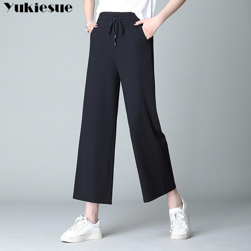 streetwear women's   pants   capris with high waist elastic   wide     leg     pants   for women trousers woman   pants   female Plus size 5XL 6XL