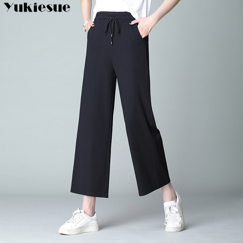 streetwear women's   pants     capris   with high waist elastic wide leg   pants   for women trousers woman   pants   female Plus size 5XL 6XL