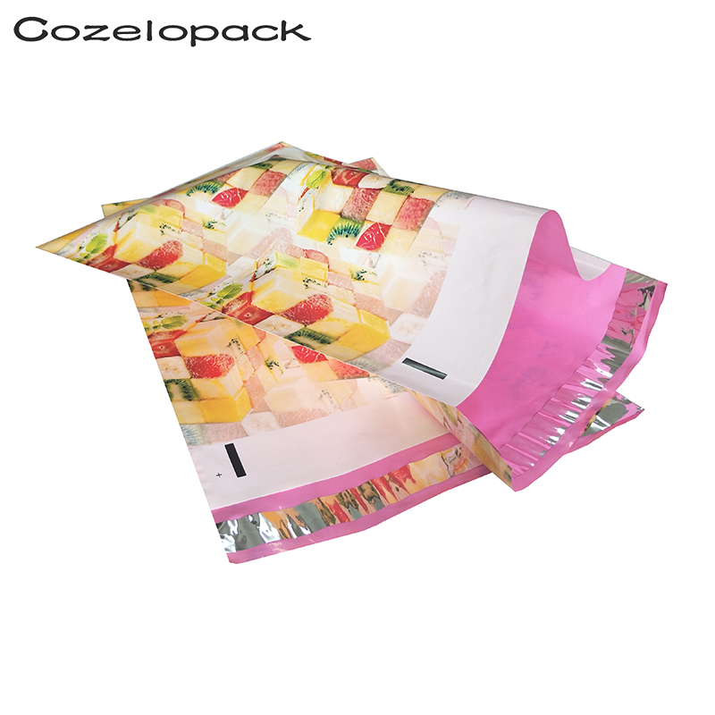 100PCS 12x15.5inch Poly Mailer 30.5x39.5cm Fruit Magic Square Pattern Poly Mailer Self Seal Envelopes