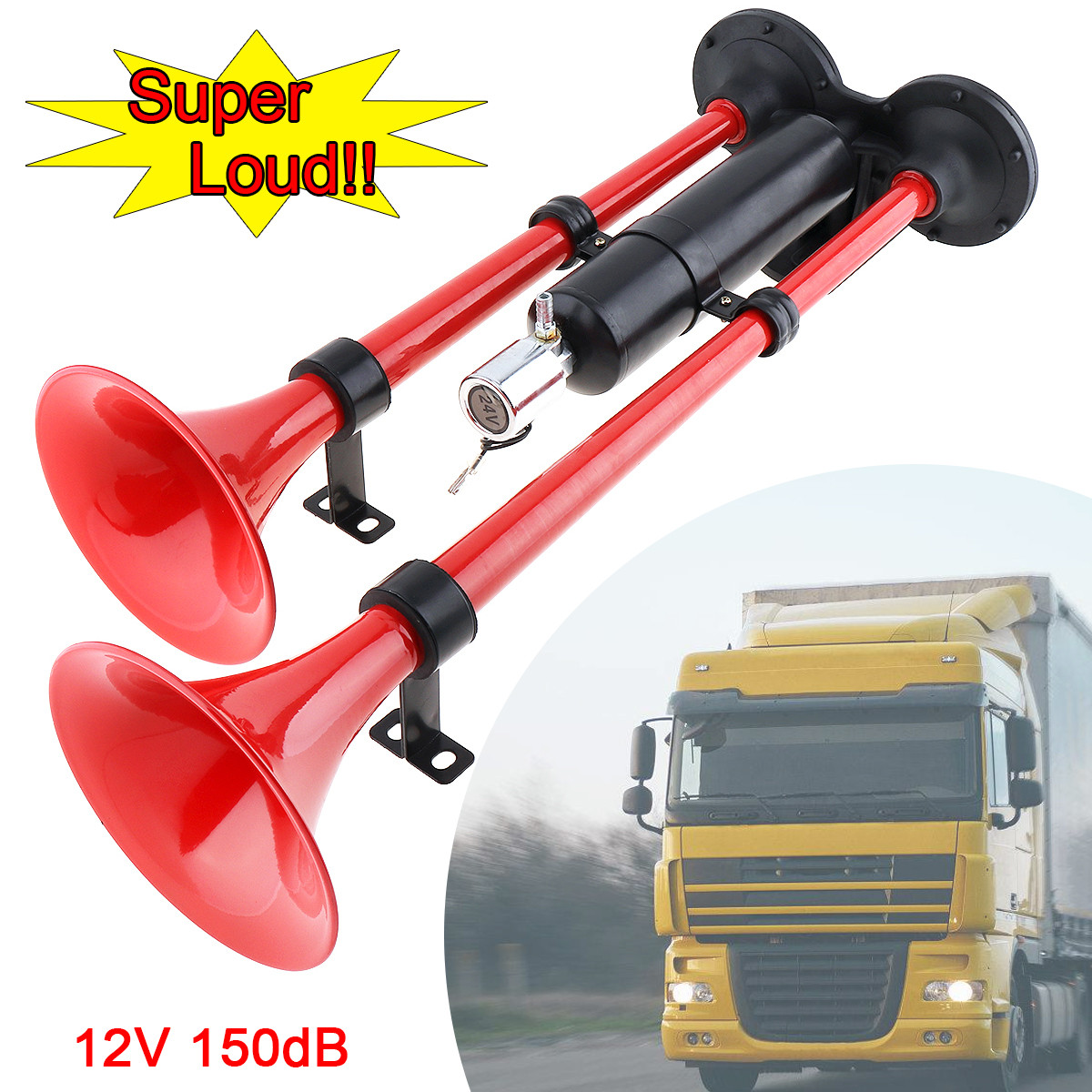 12V//24V Car Truck Van Boat Motorcycle Dual Trumpet Train Air Horn Kit 150db