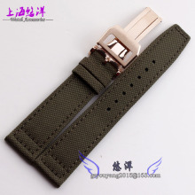 Watch band 21mm Nylon Genuine Leather Watch Band Deployant Clasp Buckle For fits Pilot IW501901