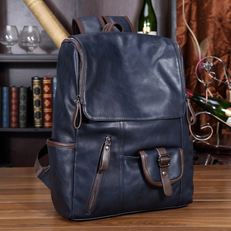 Men Mix Oil Wax PU Leather Backpack Men's Western Style Fashion Laptop Bag Travel Mochila Zip College Casual Daypack School Bags baijiawei fashion design men oil wax leather backpack men s school backpack