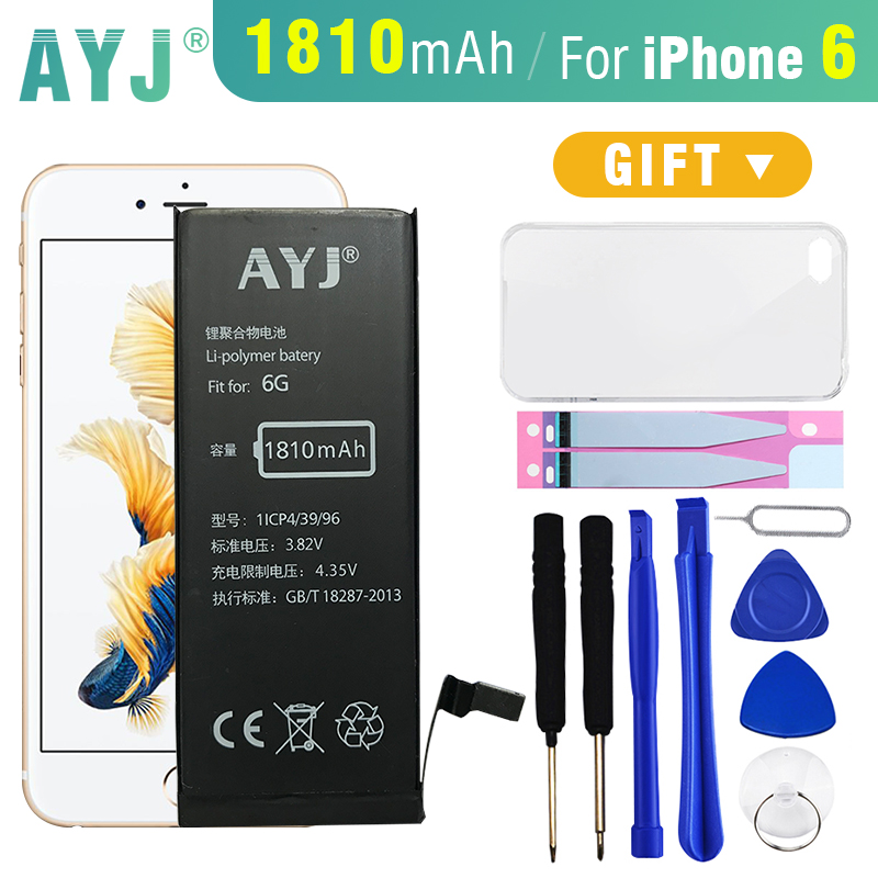 AYJ Original Battery For iphone 6 6G Real Capacity 1810mAh mobile phone replacement battery with free Case+Tool Kit 0 cycle
