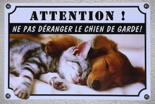 1 pc French Do not disturb dog chien de garde jardin Tin Plate Sign wall plaques house Decoration Dropshipping metal Poster