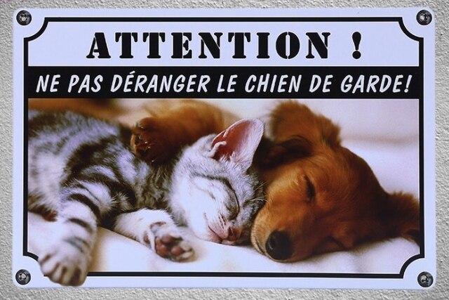 1 Pc French Do Not Disturb Dog Chien De Garde Jardin Tin Plate Sign