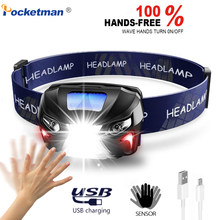 10000Lm Powerfull Headlamp Rechargeable LED Headlight Body Motion Sensor Head Flashlight Camping Torch Light Lamp With USB(China)