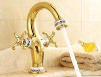 Luxury nobility golden dual handle sink faucets bathroom hat and cold water basin taps bath Deck mounted mixer tap
