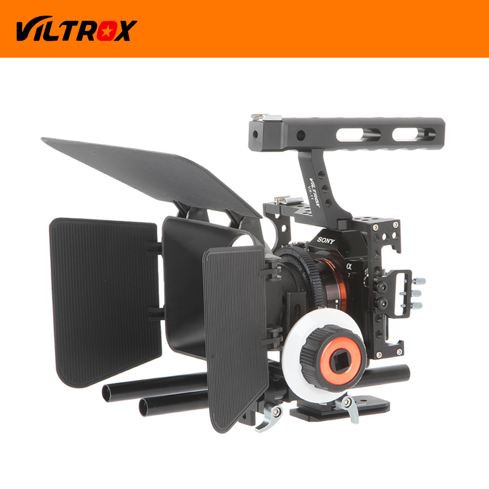 Viltrox Vídeo DSLR Film Kit 15mm Rod Rig Estabilizador Câmera gaiola + Pega + Follow Focus + Matte Box para para Sony A7 II A6300/GH4