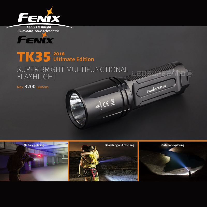 New Arrival Fenix TK35UE 2018 Cree XHP70 LED 3200 Lumens Rechargeable Super Bright Multifunctional Flashlight fenix hp25r 1000 lumen headlamp rechargeable led flashlight