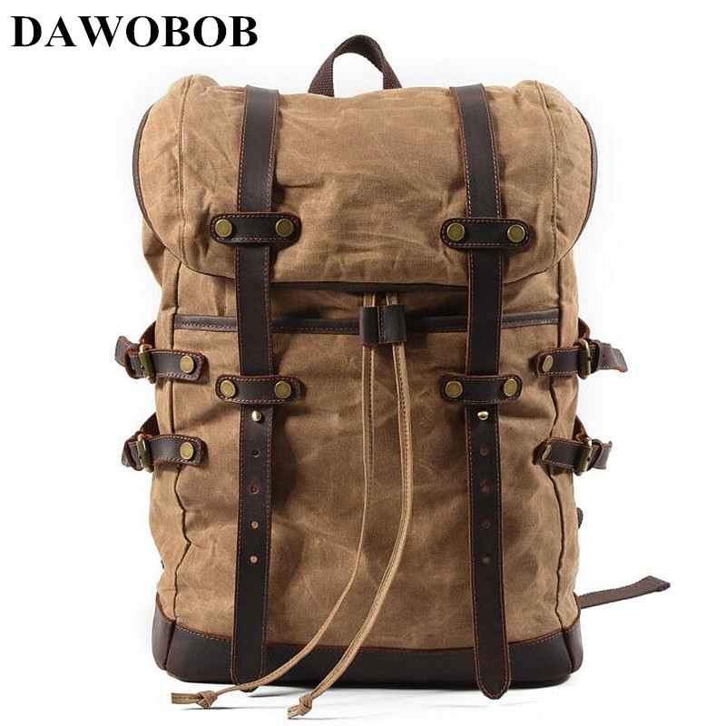 DAWOBOB Brand Stylish Travel Large Capacity Waterproof Backpack Male Luggage Bag Computer Backpacking Men Canvas School Bags men travel canvas backpack large capacity male luggage shoulder bag computer backpacking men student vintage casual backpack