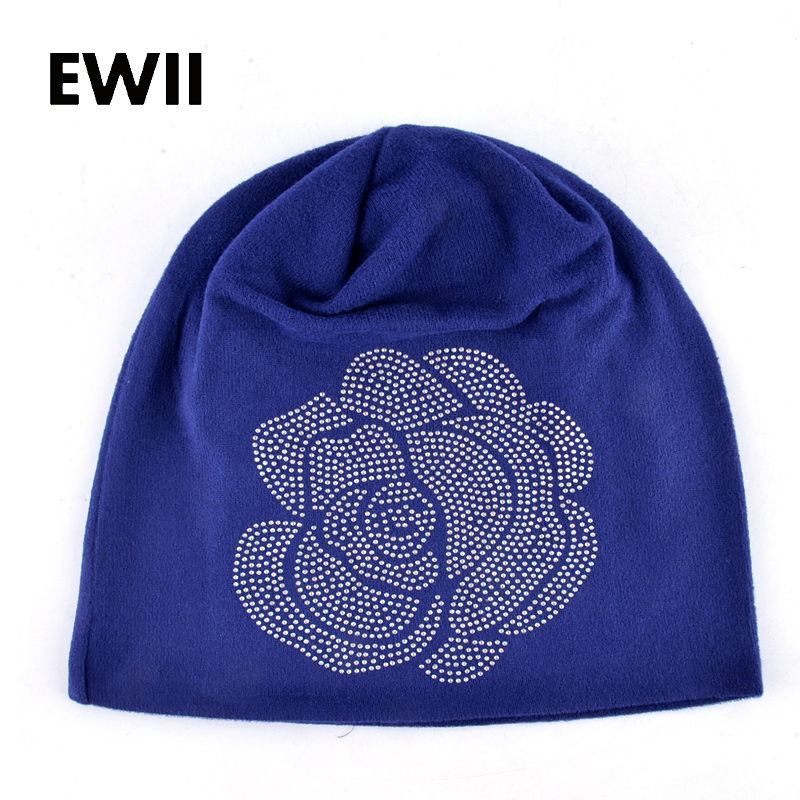 Spring and Autumn ladies beanie knitted hat women flower rhinestones hats for women's skullies caps girl cap gorros balaclava fashion crochet flower hat cap wool knitted hats for women skullies caps for the old lady s women gorros de lana