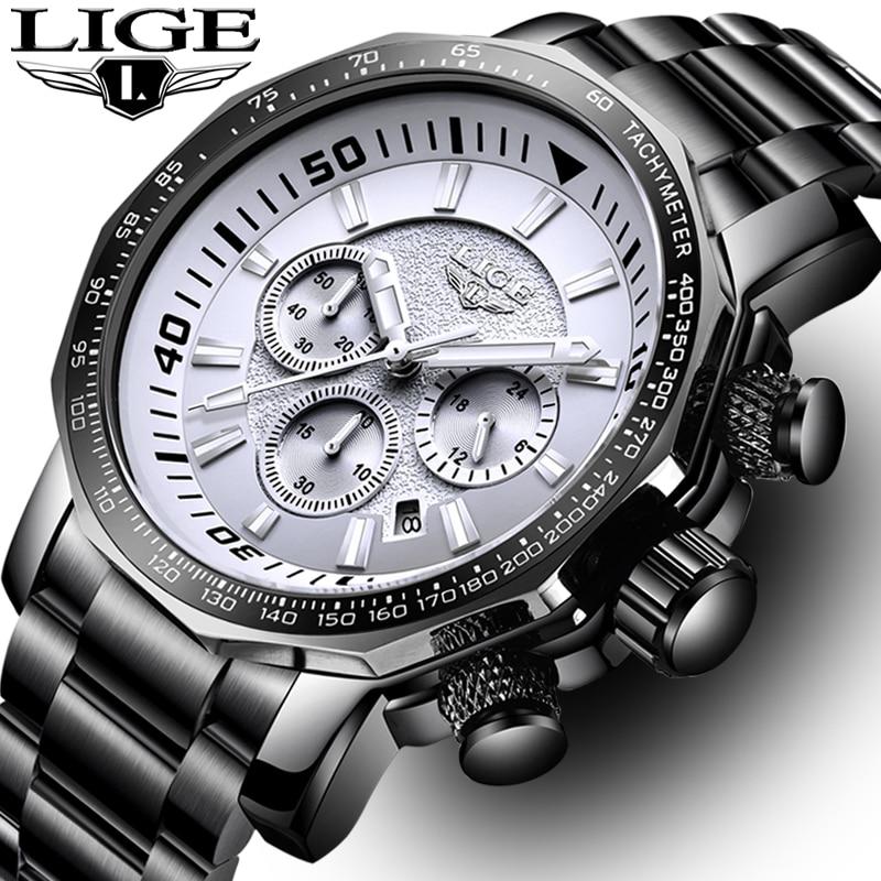 Relogio Masculino Men Watch Big Dial Military LIGE Chronograph Top Brand Luxury Fashion Men Waterproof Sport Quartz Wristwatch