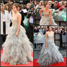 Emma Watson Dress Style Harry Potter Premiere In London-Custom Made Tiered Ball Gown Red Carpet Celebrity Dresses(China (Mainland))