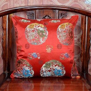 Ручной работы с цветочным принтом китайский стул подушка для дивана в этническом стиле Подушка под поясницу декоративные наволочки шелк атласная наволочка 45x45 см - Цвет: Красный
