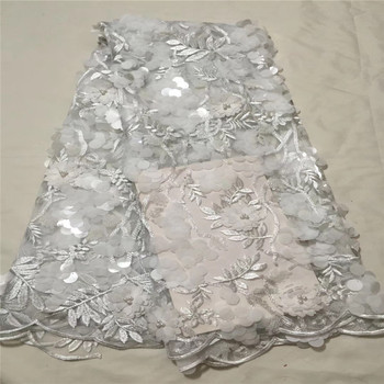 2018 African Lace Fabric White High Quality Flower 3D Applique Heavy Beaded Bridal Lace Fabric For Nigerian Handmade Lace 1059-2