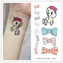 Harajuku Waterproof Temporary Tattoos For Lady Women Cute 3d Little Pegasus Cartoon Design Tattoo Sticker RC2236