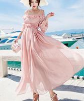 Бесплатная доставка 2018 Летний Лидер продаж в богемном стиле Стиль оборки, открытые плечи, женские шифоновое длинное платье розового цвета