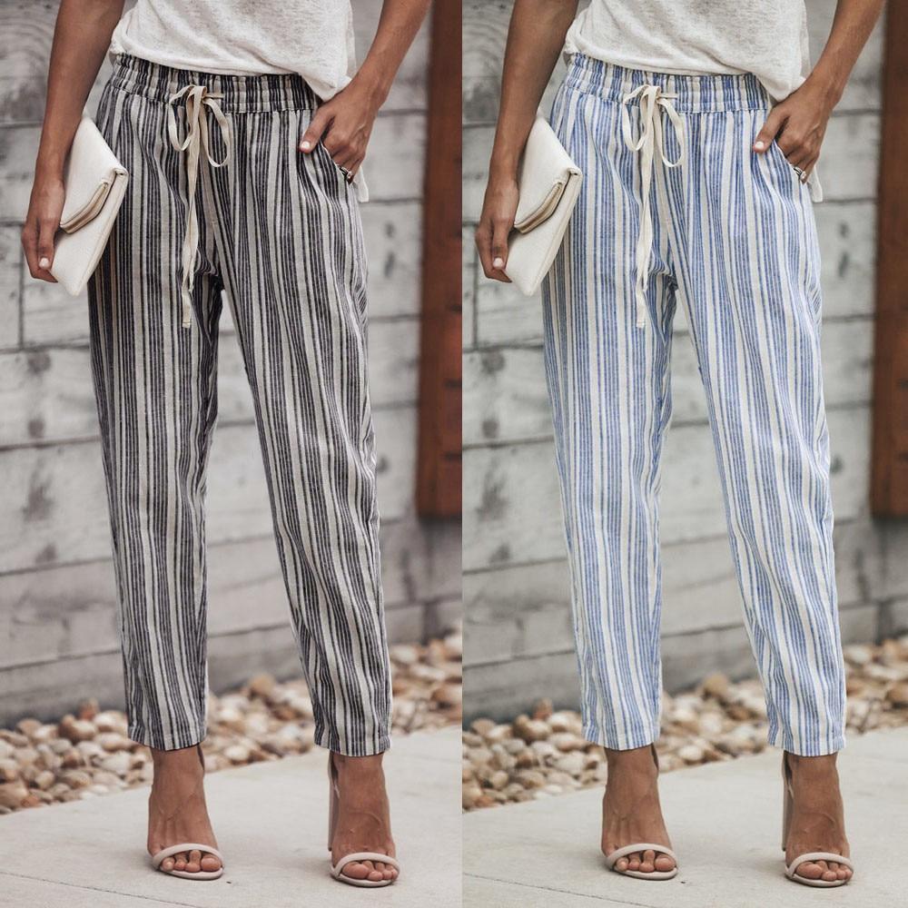 Telotuny women pants Striped Printed Drawstring pants female office trousers women Long pencil women Trousers JL 20