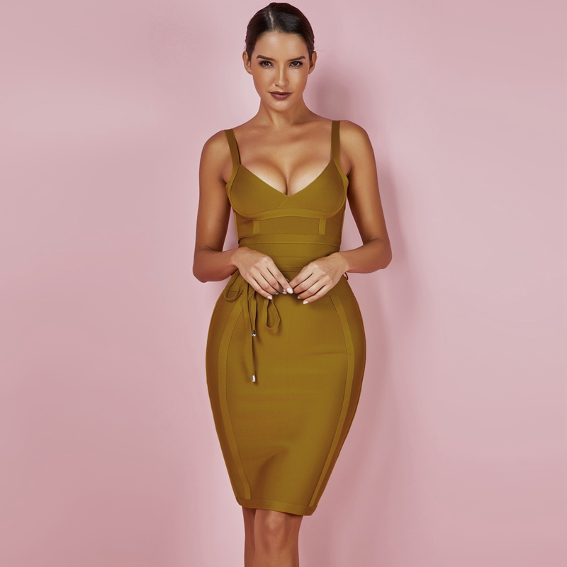 5909a2e1bd US $13.54 56% OFF|Ocstrade Women Bandage Dress 2019 Rayon Sleeveless Summer  New Arrivals Sexy Deep v Neck Vestido Bodycon Bandage Dress Club Party-in  ...