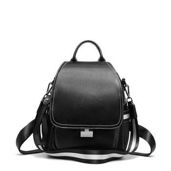 DANJUE High Quality Genuine Leather WoMen backpack Fashion School Bags For Teenager Girls casual WoMen Black backpacks