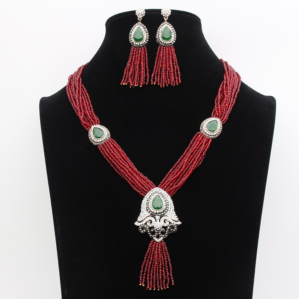 Luxurious Vintage Beaded Tassel Morocco Jewelry Sets Antique Gold Plating Bohemia Ethnic Necklace & Earrings Women Bijoux Gift