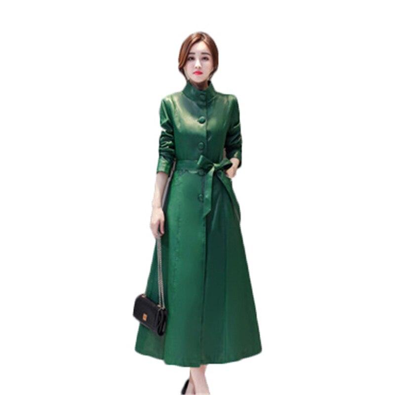 M-5XL Winter large Size Women Faux   Leather   Streetwwear Big Size Female X-long PU   leather   Long Sleeve Single Breated Coats D834