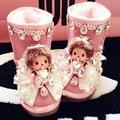 Бесплатная Доставка розовый Ручной Перлы Rhinestone кристалл девушки bling bling Снегоступы прекрасные теплые Зимние дети Сапоги Туфли