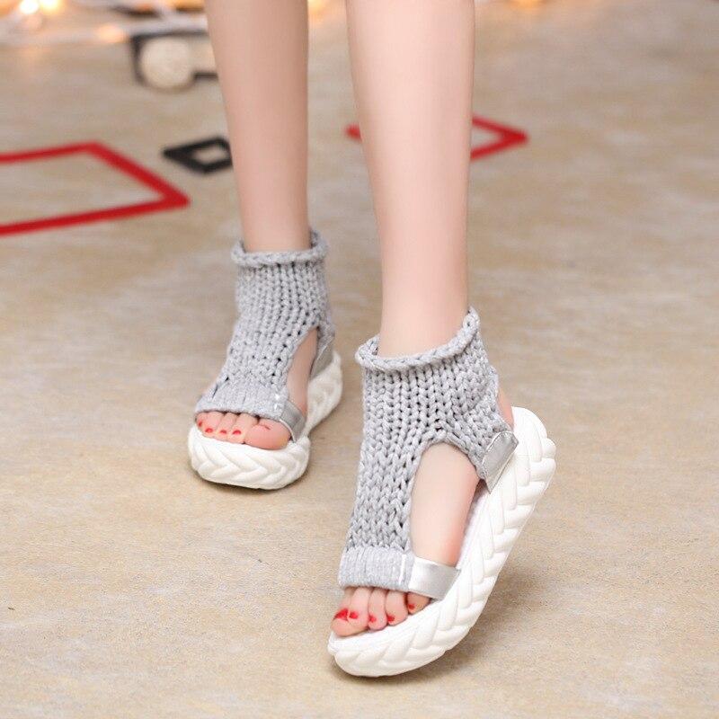 Вязаные сандалии, женские сандалии-гладиаторы на платформе, модная женская обувь, однотонные, повседневные, летние, на плоской подошве,, с открытым носком, вязаные вьетнамки - Цвет: gray