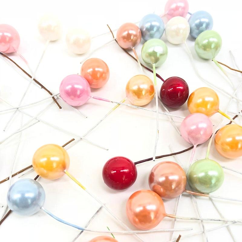 50 шт. мини пластик искусственный цветок фрукты тычинки Cherry Рождество жемчуг ягоды для свадьбы DIY Подарочная коробка декоративные венки