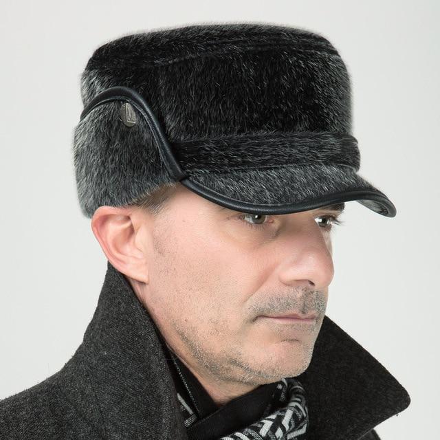 Winter Hat For Men Middle-aged Mink Winter Bomber Hats Winter Elderly Hat  Men s Cap For Men Russian Ushanka outdoor caps 47638a594eb
