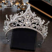 HIMSTORY New Big European Bride Wedding Crown Handmade Silver Plated Beaded Crystal Large Queen Crown Wedding Hair Accessories